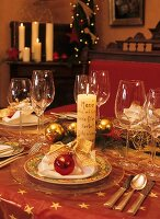 Table laid for Christmas