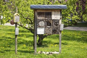 An insect house in a garden
