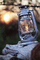 Lantern on tree stump