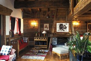 Living room in a mountain hut (France)