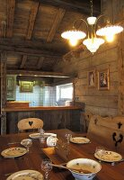 Dining room in a mountain hut (France)