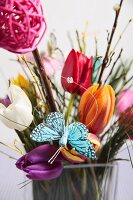 Colourful spring arrangement with tulips
