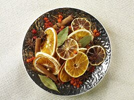 Scented pot pourri with dried fruits and spices