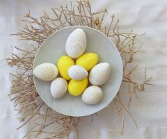 White and yellow Easter eggs