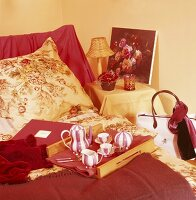 A tray on a bed