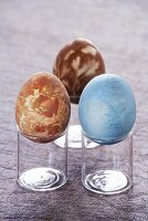 Easter eggs on glasses