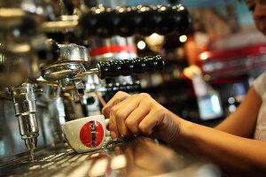 Espresso being prepared in Cuban restaurant La Bodeguita Del Medio in Prague, Czech Republic