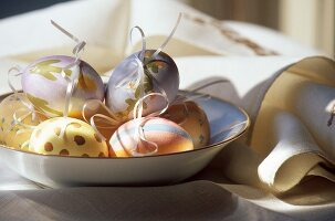 Painted Easter eggs with bows