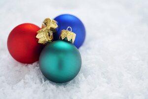 Three Mini Christmas Ball Ornaments