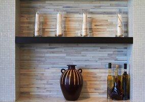Kitchen Shelves with Decorative Bottles, Jar; Oils