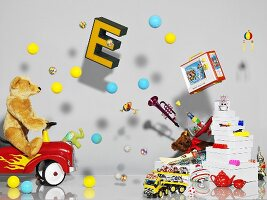 Artistic room decoration with toys and balls
