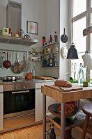 Free standing chopping block in modern kitchen