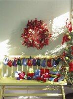 Home-made boot Advent calendar