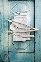 Shells and cutlery made from driftwood
