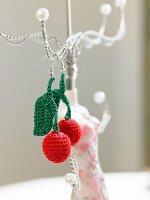 Crocheted cherry earrings