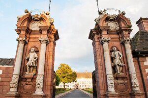 The entrance to Schloss Corvey with statues of Turkish soldiers