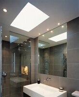 Modern, grey-tiles bathroom with skylight above designer sink