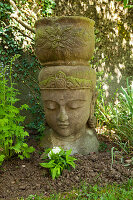 Stone head of Buddha with integrated planter in flowerbed