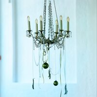 Chandelier with Christmas baubles