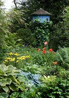 Dovecot in lush garden