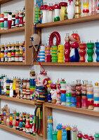 Shelves full of knitting dollies