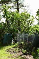 Compost corner in garden