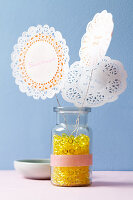 Mini doily flowers with love notes