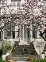 Flowering magnolias in front of villa and child playing on stone steps