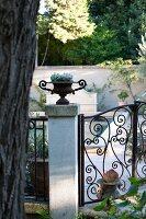 Wrought-iron garden gate