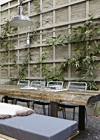 Table made of rustic planks in front of climbers on wooden trellis in courtyard
