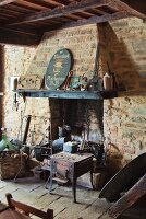 Rustic fireplace and stove