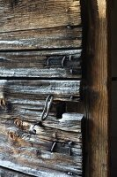 Old wooden chapel door with key