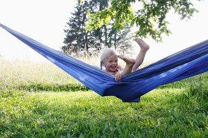 Blonde girl in hammock
