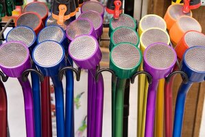 Colourful water sprayers for the garden