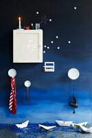 Wall-mounted cabinet, plate hooks & toothbrush holder