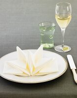 Place Setting with Decoratively Folded Napkin, Water and White Wine