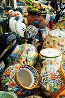 Many Decorative Flower Pots; At a Market
