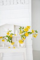 White vases of yellow Rhododendron flowers in model house on table