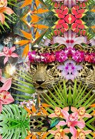 Collage of jaguars and tropical plants (print)
