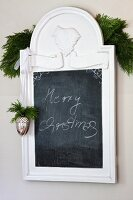 Festively decorated slate chalkboard