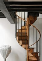 Modern mezzanine and traditional, wooden spiral staircase with metal balustrade