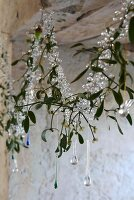 Sprigs of mistletoe decorated with glass beads in window with ancient masonry
