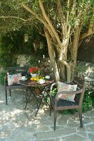 Vintage garden chair and table in front of tree on stone-flagged terrace