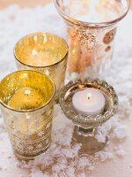 Christmas arrangement with tealight holders