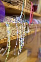 Various trims and ribbons in craft shop