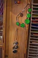Various necklaces in craft shop