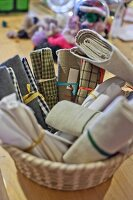Various fabrics in craft shop