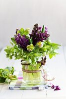 Spring bouquet of hyacinths and hellebores