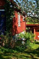 Sunny wooden facade of house with garden