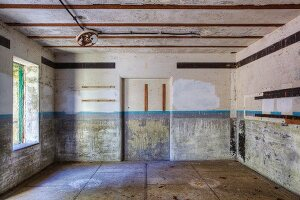 Concrete rooms in a bunker on a disused military base, Fort Flagler, Washington